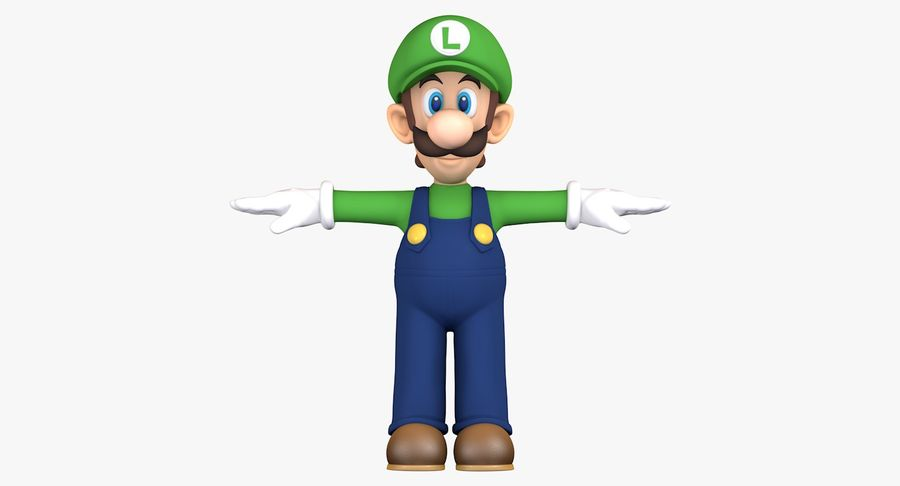 Luigi Super Mario Character royalty-free 3d model - Preview no. 3