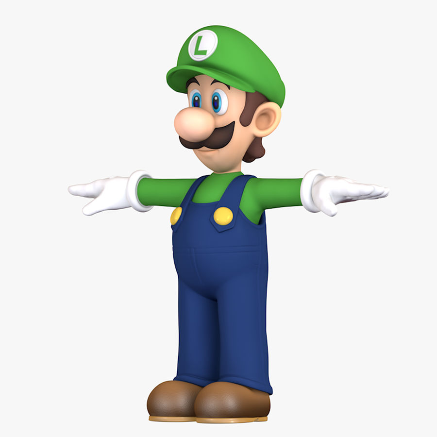 Luigi Super Mario Character royalty-free 3d model - Preview no. 1