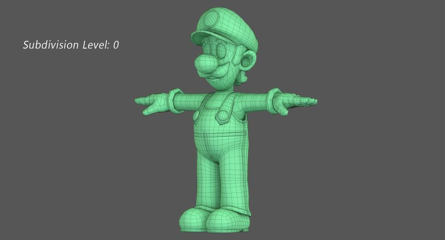 Luigi Super Mario Character royalty-free 3d model - Preview no. 12
