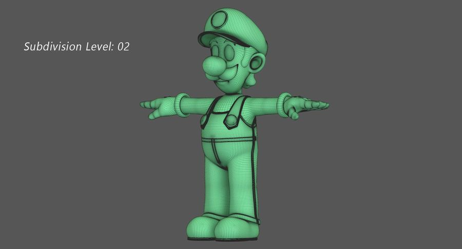 Luigi Super Mario Character royalty-free 3d model - Preview no. 14