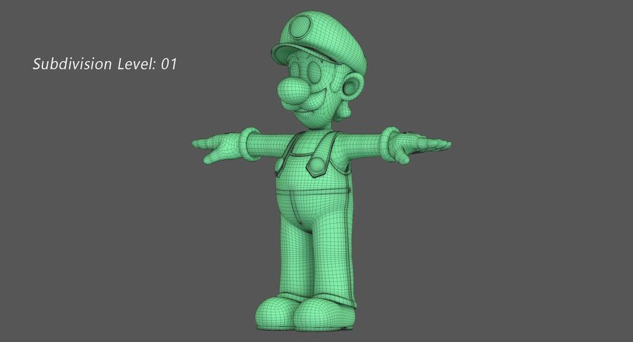 Luigi Super Mario Character royalty-free 3d model - Preview no. 13