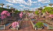 日本花园公园 3d model