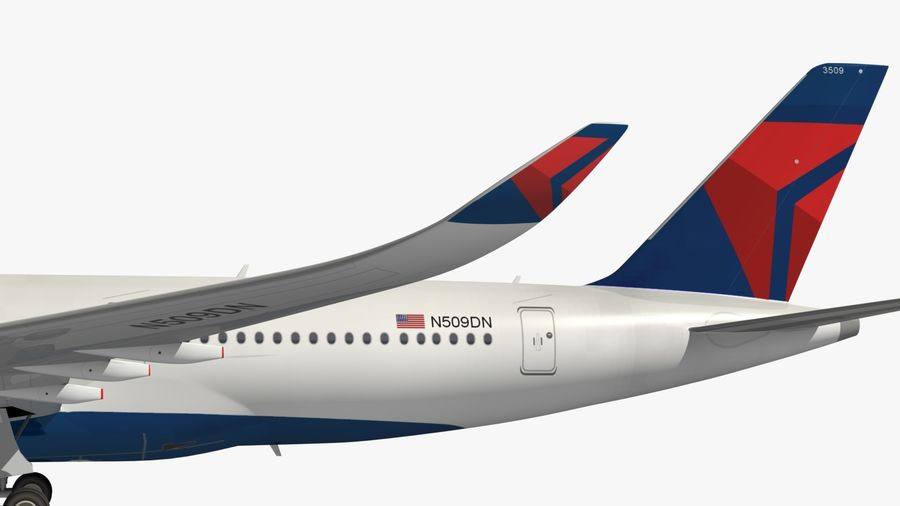 Airbus A350 Delta Airlines royalty-free 3d model - Preview no. 4