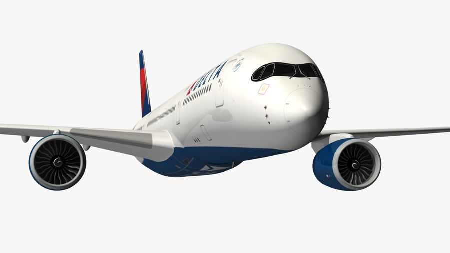 Airbus A350 Delta Airlines royalty-free 3d model - Preview no. 6