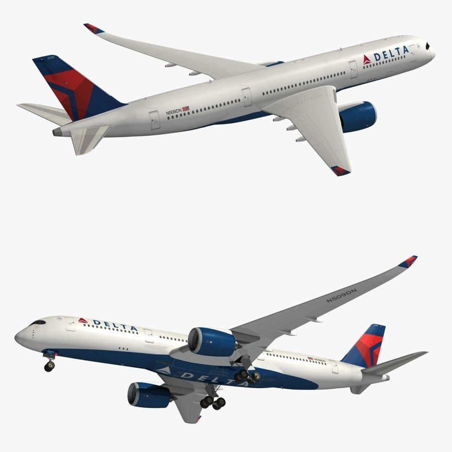 Airbus A350 Delta Airlines royalty-free 3d model - Preview no. 1