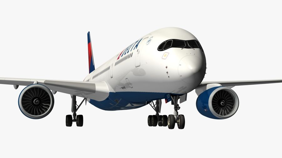 Airbus A350 Delta Airlines royalty-free 3d model - Preview no. 5
