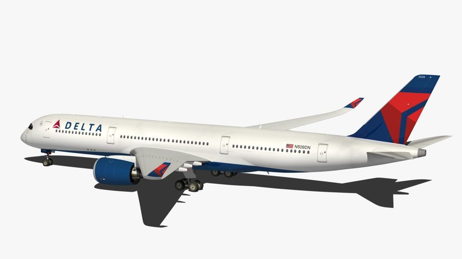 Airbus A350 Delta Airlines royalty-free 3d model - Preview no. 10