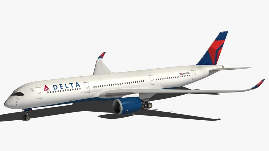 Airbus A350 Delta Airlines royalty-free 3d model - Preview no. 9