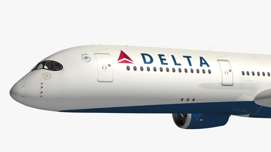Airbus A350 Delta Airlines royalty-free 3d model - Preview no. 2
