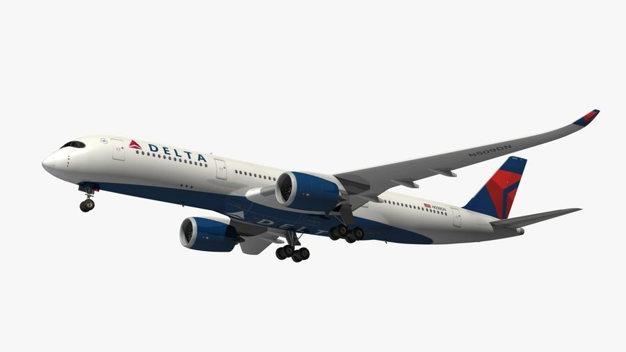 Airbus A350 Delta Airlines royalty-free 3d model - Preview no. 14