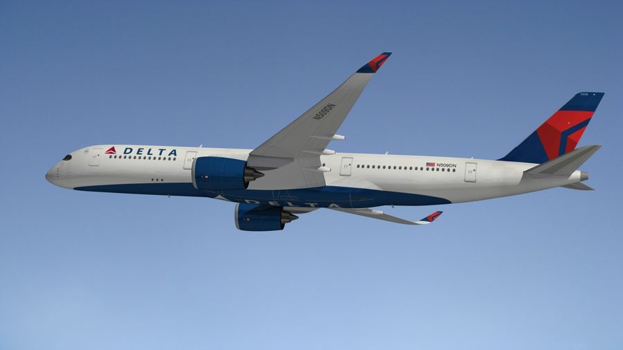 Airbus A350 Delta Airlines royalty-free 3d model - Preview no. 8