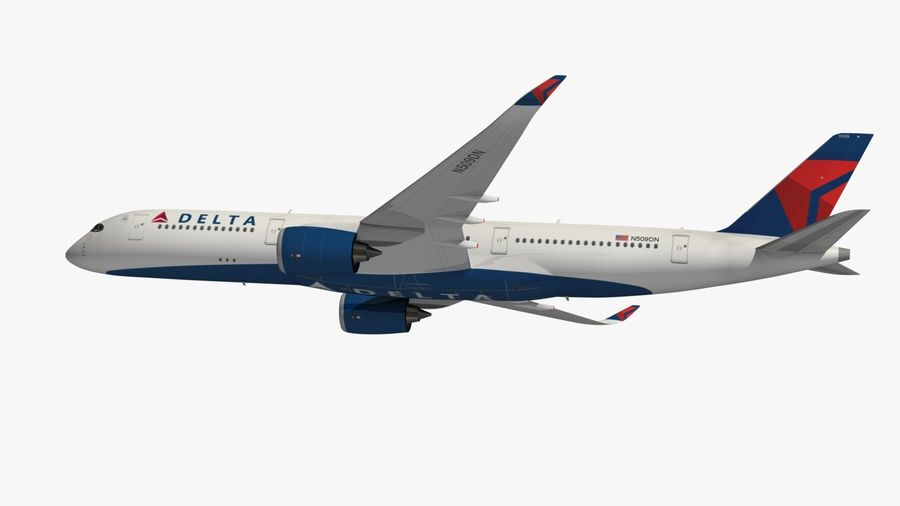 Airbus A350 Delta Airlines royalty-free 3d model - Preview no. 7