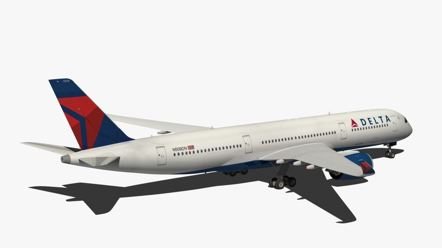 Airbus A350 Delta Airlines royalty-free 3d model - Preview no. 11