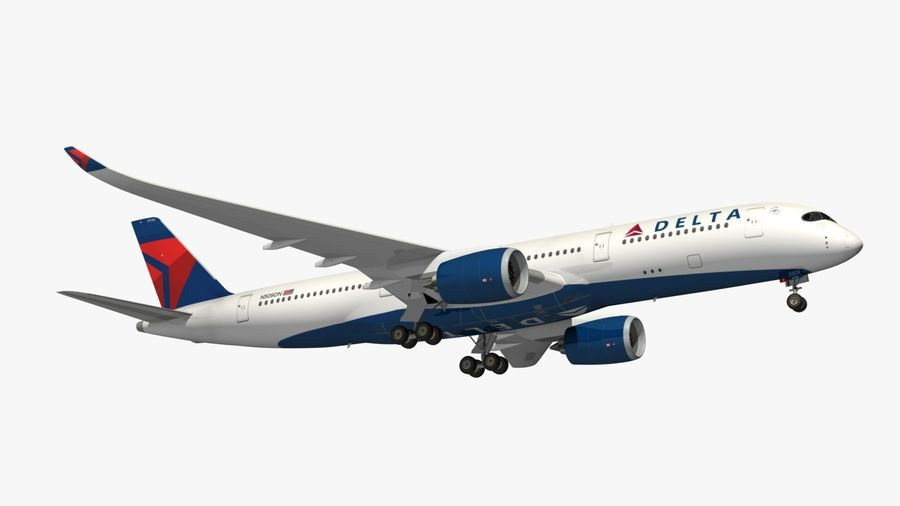 Airbus A350 Delta Airlines royalty-free 3d model - Preview no. 13