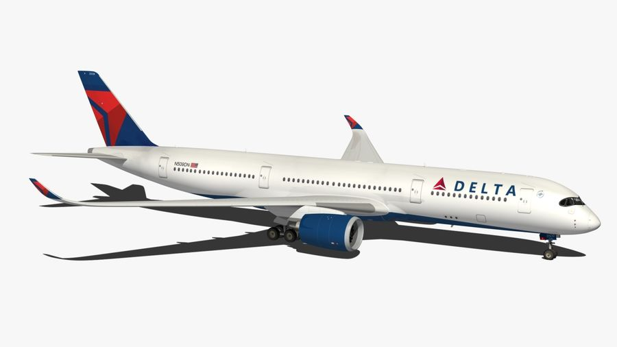 Airbus A350 Delta Airlines royalty-free 3d model - Preview no. 12