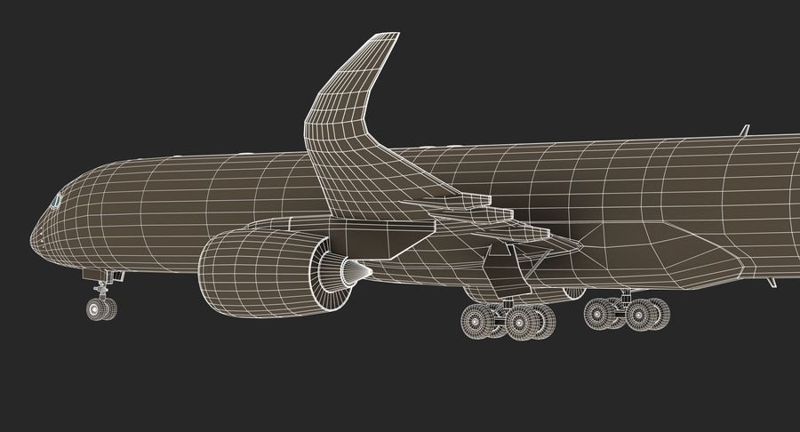 Airbus A350 Delta Airlines royalty-free 3d model - Preview no. 20
