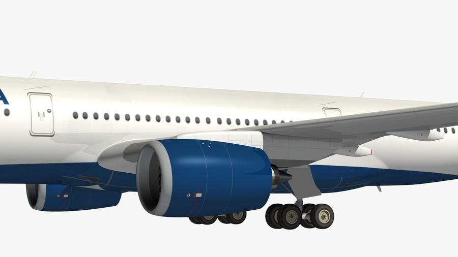 Airbus A350 Delta Airlines royalty-free 3d model - Preview no. 3