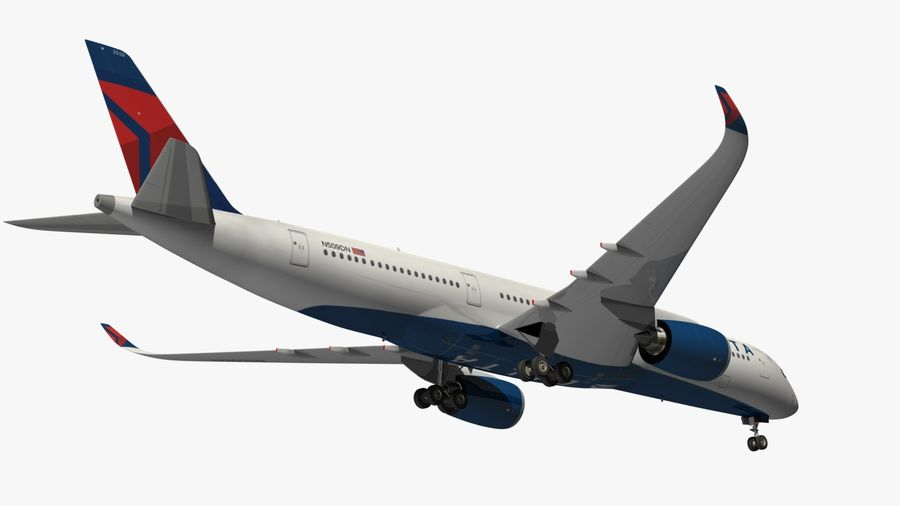 Airbus A350 Delta Airlines royalty-free 3d model - Preview no. 16