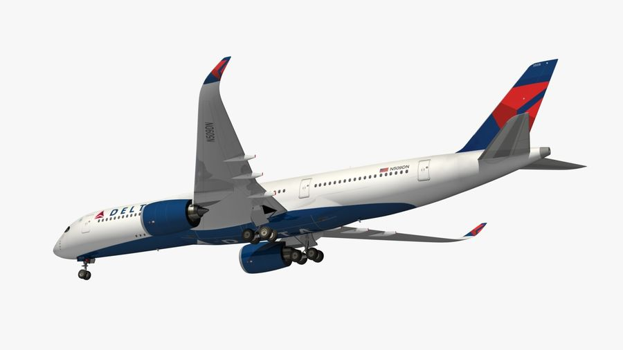 Airbus A350 Delta Airlines royalty-free 3d model - Preview no. 15