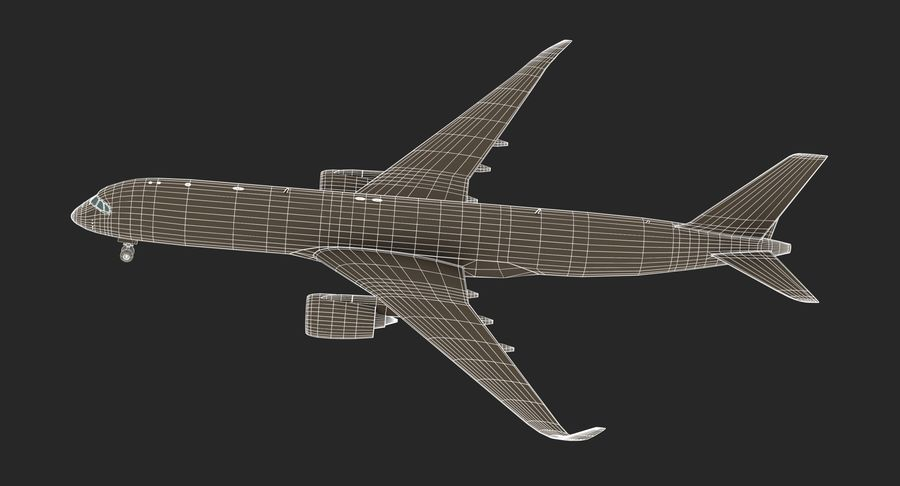 Airbus A350 Delta Airlines royalty-free 3d model - Preview no. 17