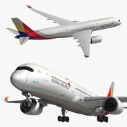 Airbus A350 Asiana 3d model