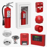 Set di allarme antincendio 3d model