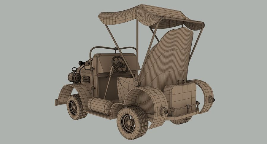 Cartoon Steampunk Car royalty-free 3d model - Preview no. 15