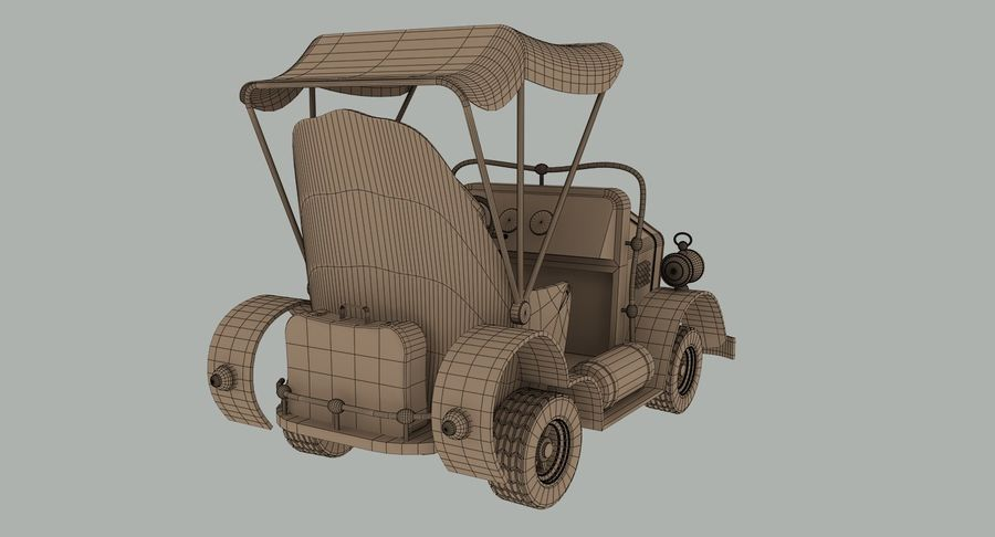 Cartoon Steampunk Car royalty-free 3d model - Preview no. 14