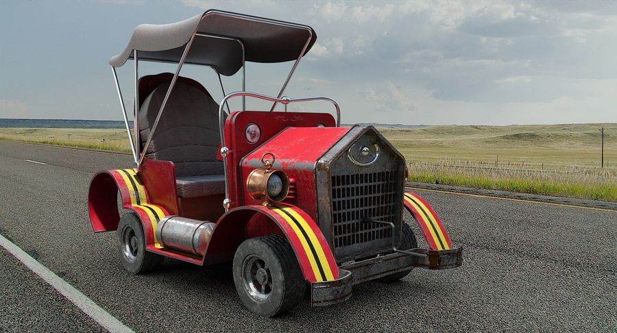 Cartoon Steampunk Car royalty-free 3d model - Preview no. 3