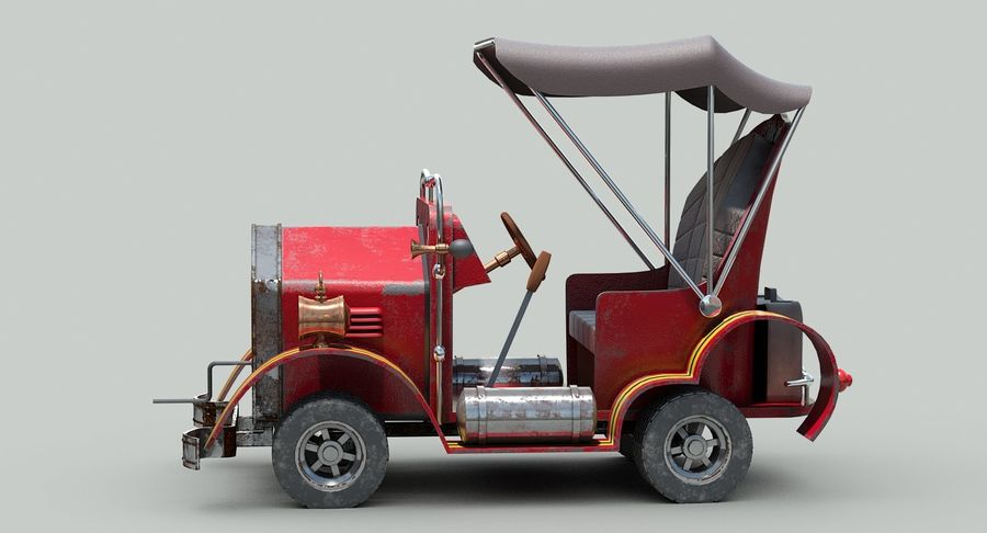 Cartoon Steampunk Car royalty-free 3d model - Preview no. 5