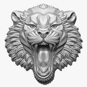 Alivio de la cabeza del tigre enojado modelo 3d
