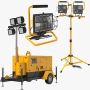Drei mobile Bauleuchten 3d model