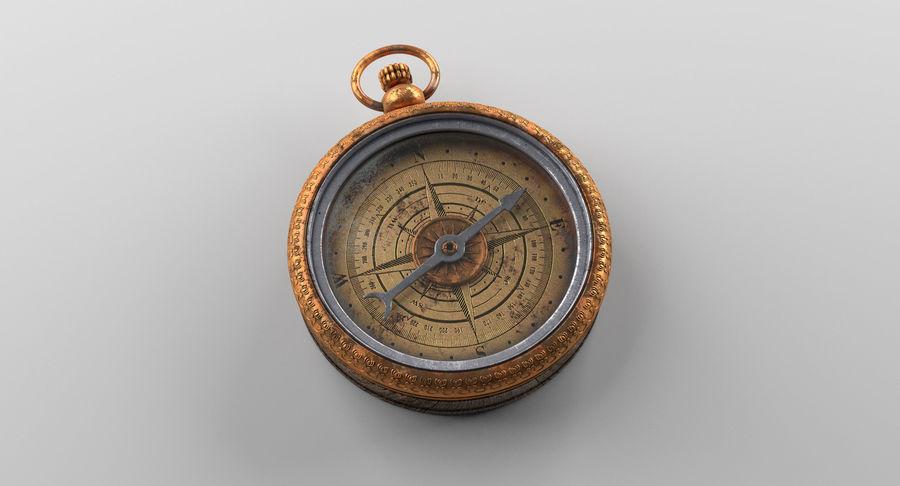 Gammalt kompass, riggat, högt och lågt poly, PBR royalty-free 3d model - Preview no. 2