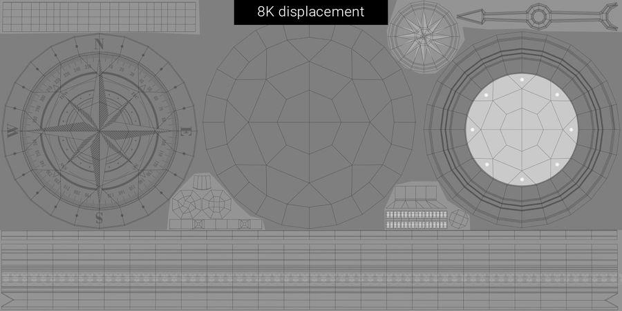 Gammalt kompass, riggat, högt och lågt poly, PBR royalty-free 3d model - Preview no. 26