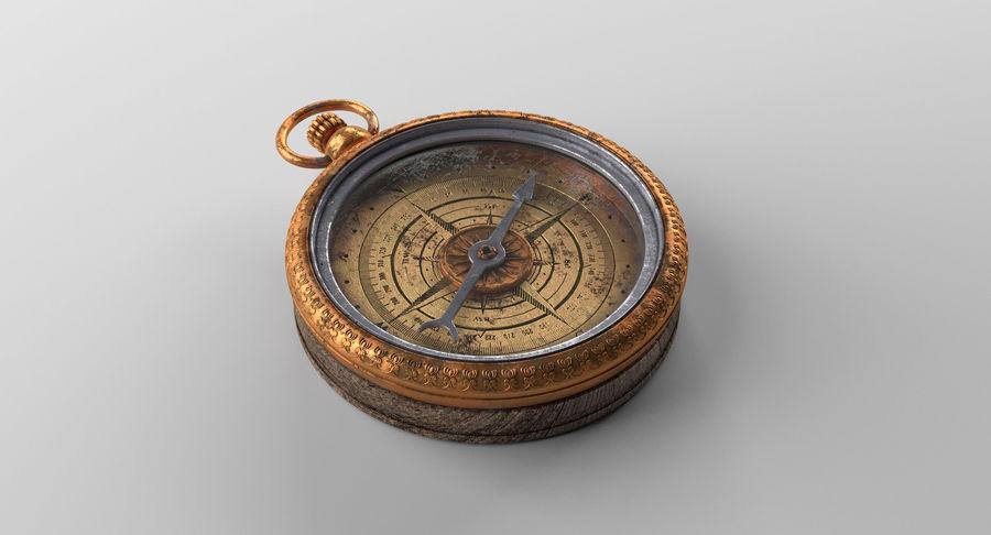 Gammalt kompass, riggat, högt och lågt poly, PBR royalty-free 3d model - Preview no. 3