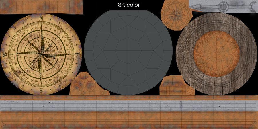 Gammalt kompass, riggat, högt och lågt poly, PBR royalty-free 3d model - Preview no. 22