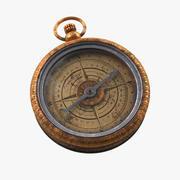 Gammalt kompass, riggat, högt och lågt poly, PBR 3d model
