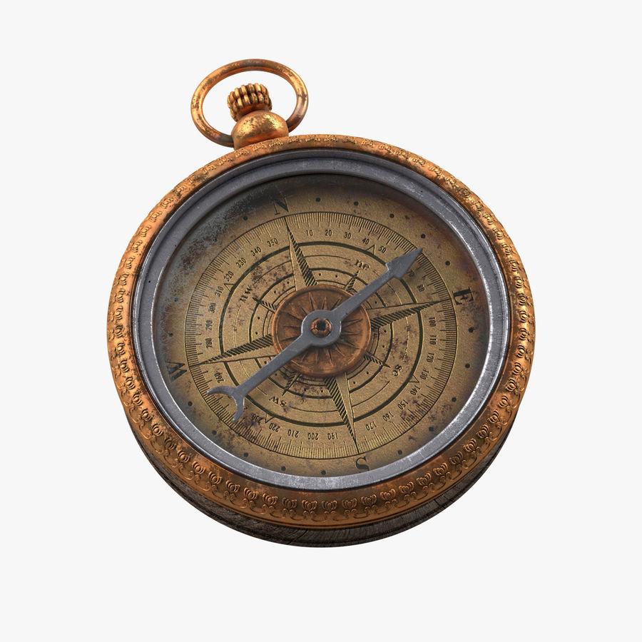Gammalt kompass, riggat, högt och lågt poly, PBR royalty-free 3d model - Preview no. 1