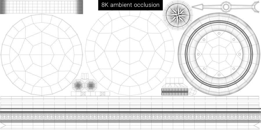 Gammalt kompass, riggat, högt och lågt poly, PBR royalty-free 3d model - Preview no. 27