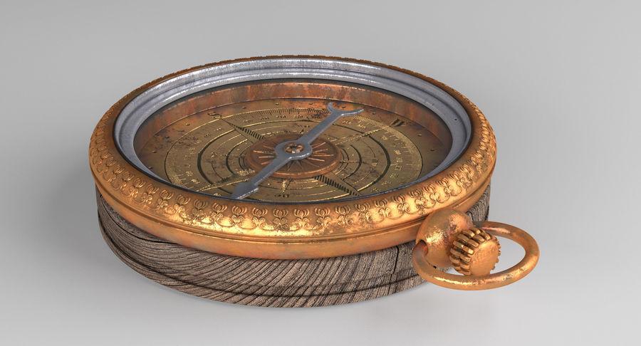Gammalt kompass, riggat, högt och lågt poly, PBR royalty-free 3d model - Preview no. 7