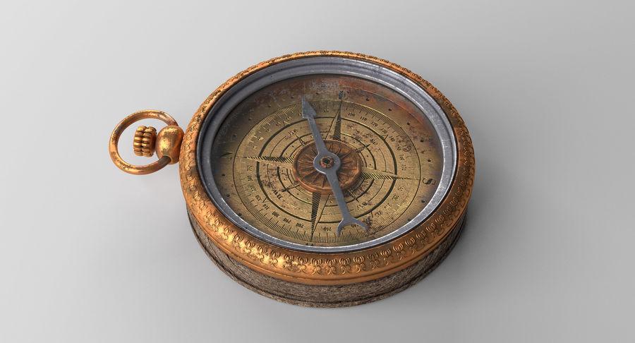 Gammalt kompass, riggat, högt och lågt poly, PBR royalty-free 3d model - Preview no. 10