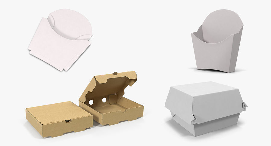 Fast Food Containers Collection royalty-free 3d model - Preview no. 2