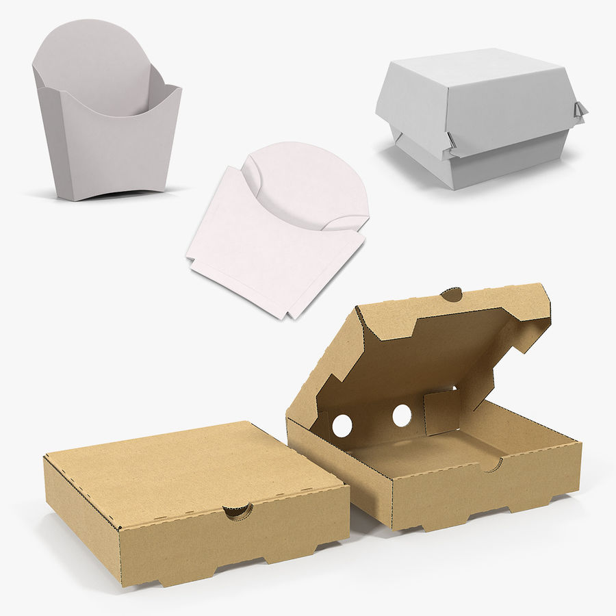 Fast Food Containers Collection royalty-free 3d model - Preview no. 1