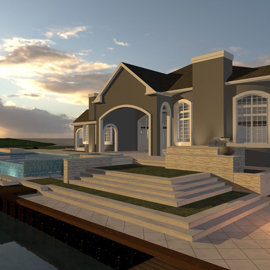 Casa con piscina royalty-free 3d model - Preview no. 6