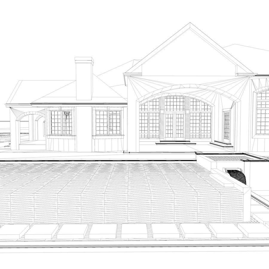 Casa con piscina royalty-free 3d model - Preview no. 5