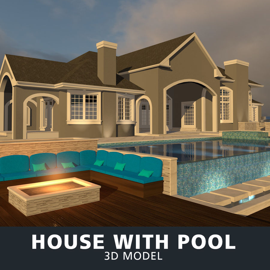 Casa con piscina royalty-free 3d model - Preview no. 1