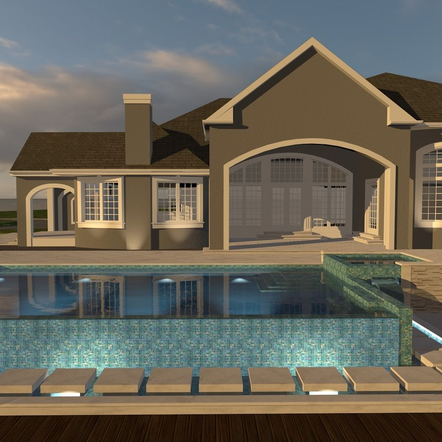Casa con piscina royalty-free 3d model - Preview no. 4
