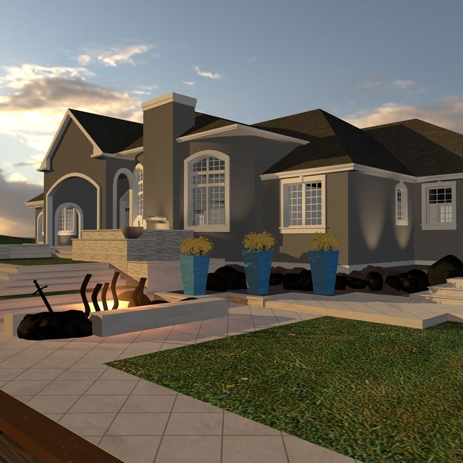 Casa con piscina royalty-free 3d model - Preview no. 8