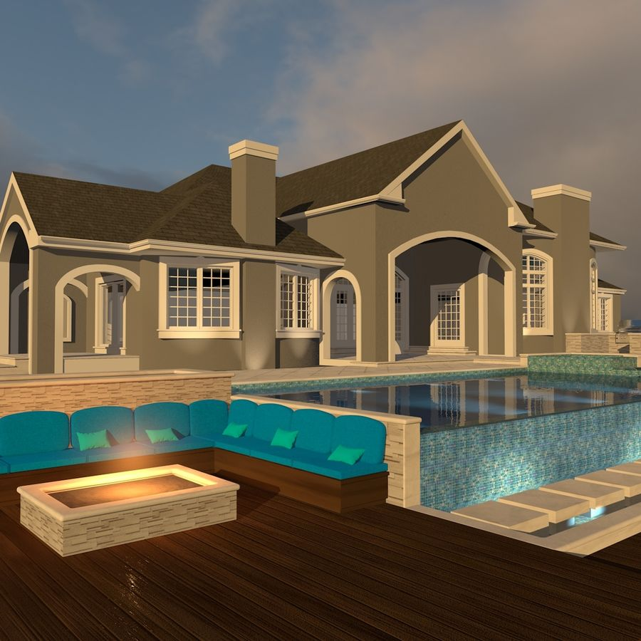 Casa con piscina royalty-free 3d model - Preview no. 2
