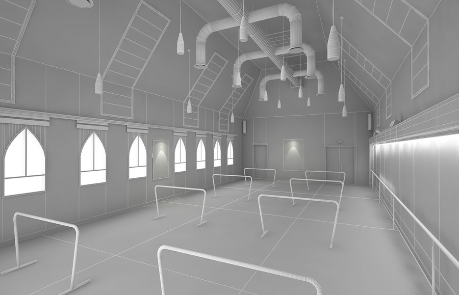 Ballet-Dance Studio royalty-free modelo 3d - Preview no. 9